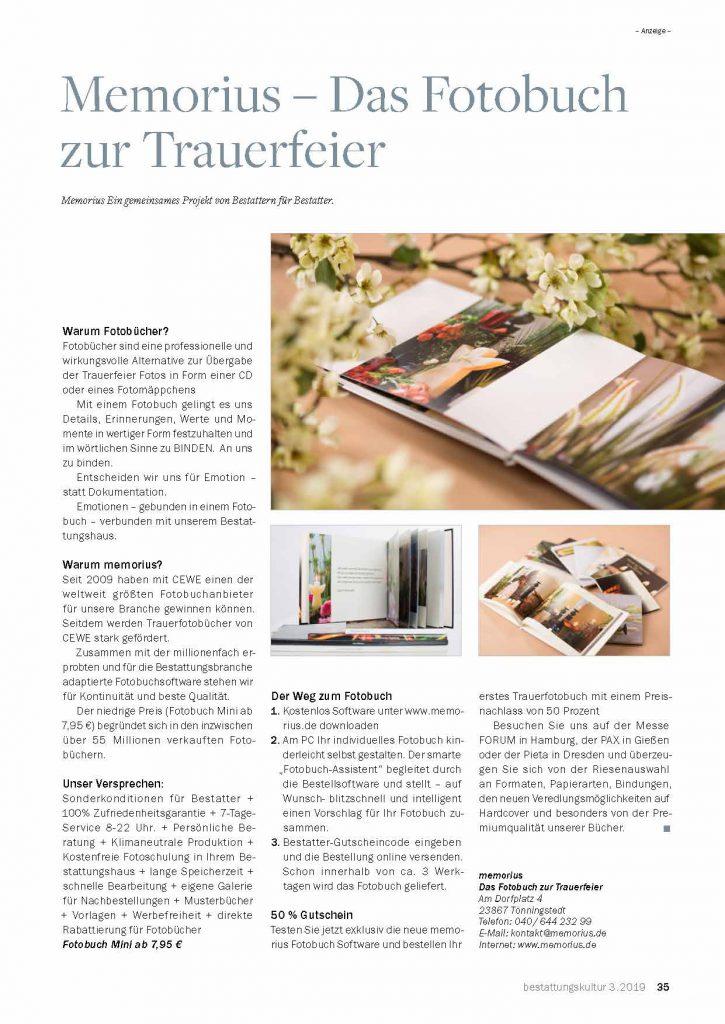 Memorius Zeitungsartikel für das Fotobuch zur Beerdigung